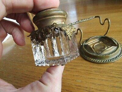 Antique Original 1899 Embossed Brass And Glass Desk Inkwell Super Cool Look !!