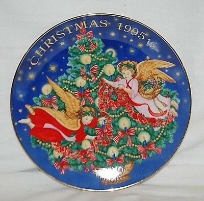 Old Vintage 1995 AVON Christmas Plate 22K Gold Trimming The Tree by Peggy Toole