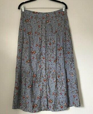 39117084f0 Laura Ashley Skirt Size 10 Blue Floral Disty Button Tier Long Full Length