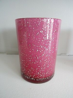 1890s Victorian Art Glass Spangle Cranberry Purple Cased MICA Flecked TUMBLER