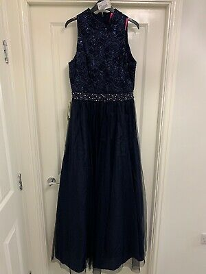 ad8d584592 ELIZA J STUNNING Navy LACE  Bead DESIGN EVENING PARTY OCCASION DRESS SIZE 14  NEW