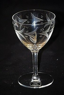 Old Vintage Mountaineer Glass Hand Cut Wine Goblet w Floral Design Barware MCM