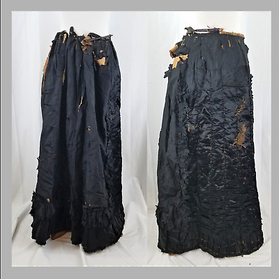 1870's Victorian Black Silk Skirt Widow's Weeds Mourning Attire Mourning Skirt