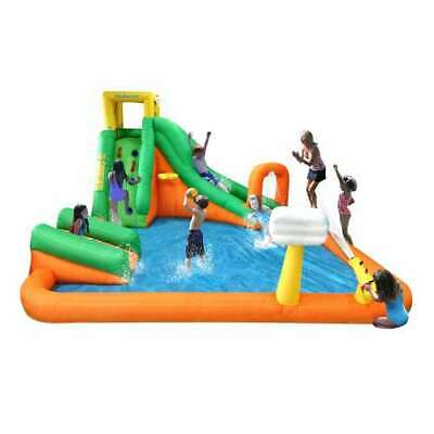 Open Box Kahuna Twin Falls Inflatable Splash Pool Backyard Water Slide Park