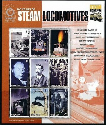 Railways, Trains, 200 yrs of Steam Locomotives, India, Grenada 2004 MNH 9v (R16)