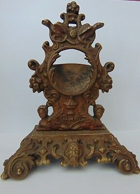 Antique French Baroque Style Bronze Brass Table Pocket Watch Holder Stand