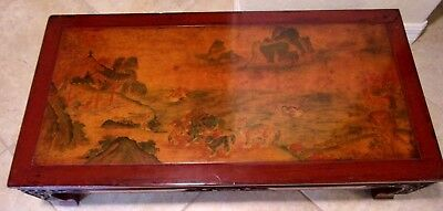 Antique Asian Chinese Carved Tea Table Hand Painted Lacquered RAre Find