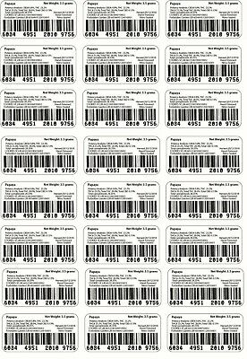 24x Barcode labels for mylar bags(Cookies) (Jungle boys) etc