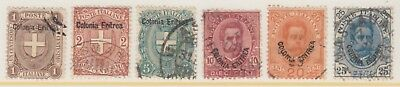 Eritrea 12-17 Used 1895-99 Stamps of Italy Overprinted Colonia Eritrea SCV $27
