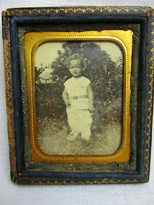 Antique Photo of Small Child in Antique Leather-Covered Wood Frame