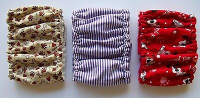 3 pk Male MEDIUM Dog Diapers Bones Hearts Belly Band Elastic Wrap 13 14 15 16 in
