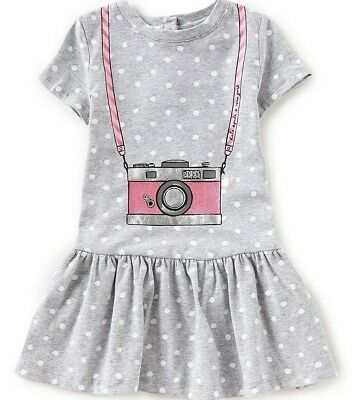 NWT KATE SPADE NEW YORK Sz6Y GIRL'S CAMERA POLKA DOT RUFFLE HEM DRESS GREY