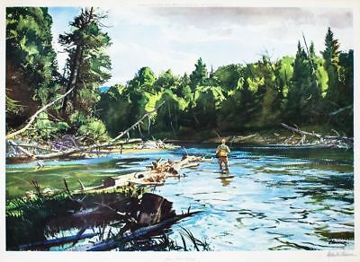 Ogden Minton Pleissner / June Trout Fishing Signed 1967