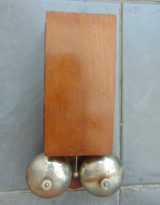 Vintage Retro French Long Wooden Cased Electric Double Butlers Door Shop Bell