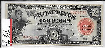 1936 Us/ Philippine 2 Peso Note Pick #82- Scarce Note Xf