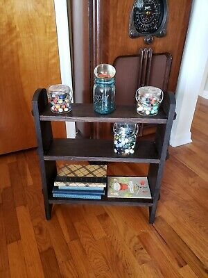 Antique oak mission arts & crafts floor shelf book rack