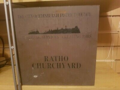 Vintage Heavy Brass Plaque Sign Edinburgh ratio churchyard