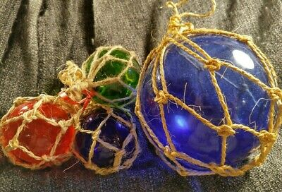 """Handblown Japanese Glass Fishing 3"""" and 5"""" Floats Tied Rope Red Green Blue"""