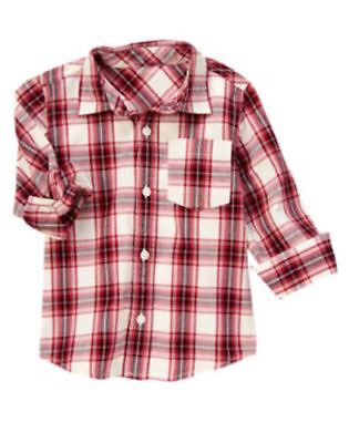 Crazy 8 Gymboree Holiday Red Plaid Button Down Dress Shirt Top Boys 4T NEW NWT