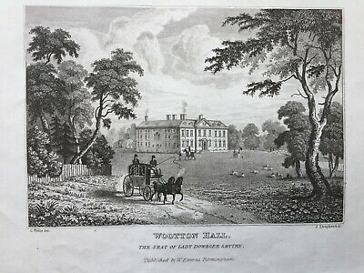 1830 Antique Print; Wootton Hall, Wootton Wawen, Warwickshire after poole