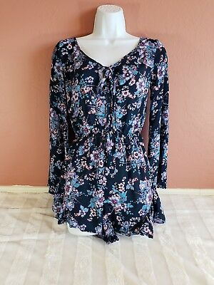 Xhilaration Womens Tie Front Bell Sleeve Shorts Romper Floral Blue Ruffle S EUC