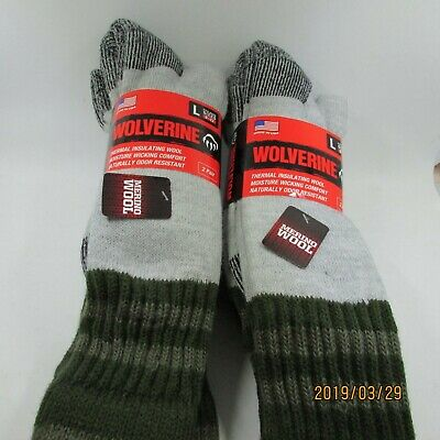 2ba6912a9ea9c 4 Pair Wolverine Thermal 20% Wool Boot Hunting Socks Color Gray Size 9-13