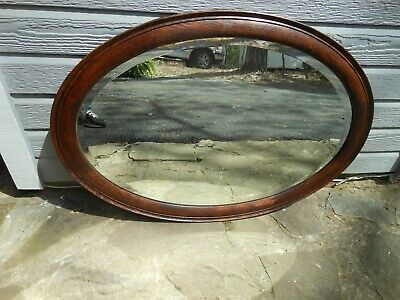 273 Older Solid Oak Oval Shaped Frame With Beveled Edge Mirror From England