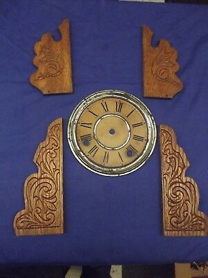 Antique Sessions Kitchen Clock Dial and Side Wood Pieces #96