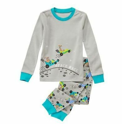 NEW Gymboree Baby Toddler Boys 6-12 mos Space Race Gray Pants Cotton Pajamas