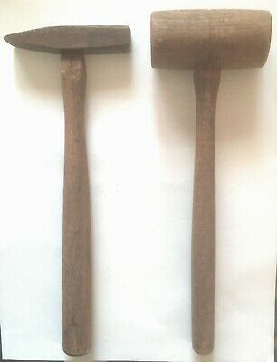 Pair (2 EA) of Antique Hammers including Wood Mallet and Chipping Hammer
