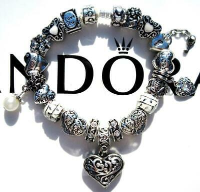 PANDORA Sterling Silver CHARM Bracelet LOVING WIFE with Murano Beads CC58