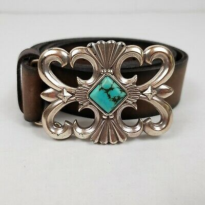 Vintage Peyote Bird Silver Buckle with Turquoise and Brown Leather Belt Size XS