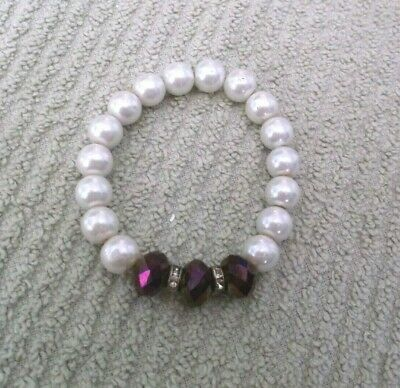 Vintage Faux Pearl Beaded Stretch Bracelet With Purple Iridescent Beads