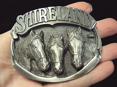 vintage Shirland three horses horse heads head Belt Buckle solid pewter Western