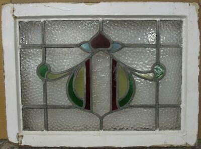 "MID SIZED OLD ENGLISH LEADED STAINED GLASS WINDOW Gorgeous Sweeps 23.75"" x 17.5"""