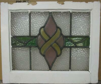 "OLD ENGLISH LEADED STAINED GLASS WINDOW Stunning Abstract Band 20"" x 16.75"""