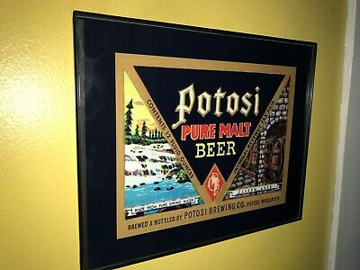 Potosi Wisconsin Girl Beer Bar Framed Advertising Print Man Cave Sign