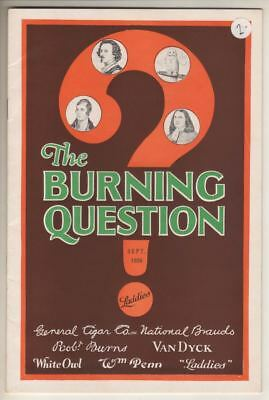 """General Cigar Company  1926   Promotional Magazine  """"The Burning Question"""""""