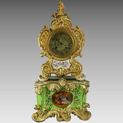 Antique Hand Painted Old Paris Style Mantel Clock France 19th Century