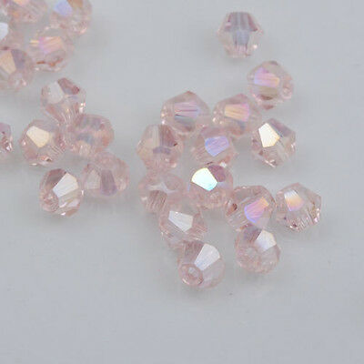 Fashion 500pcs pink AB Glass Crystal 4mm #5301 Bicone Beads loose beads @