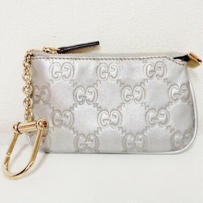 7f5abcf9cd1b GUCCI Shima Silver 233183 With key ring Wallet Coin Pocket Free Shipping  [Used]