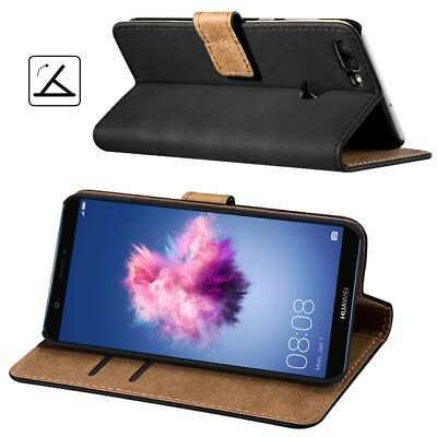 For Huawei P Smart 2017 Luxury Black Genuine Real Leather Flip Case Wallet Cover