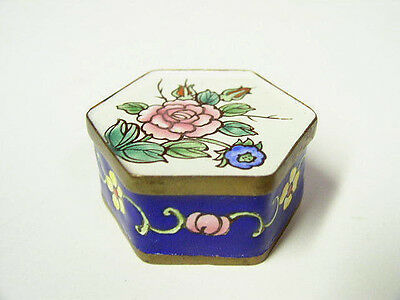 "1.75"" Chinese Cloisonne Hexagonal Box with Pink Rose Blue Enamel and Brass"
