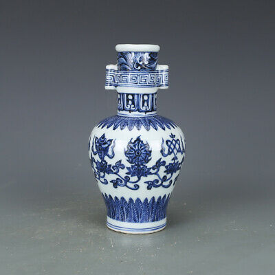 "7"" Chinese old Porcelain ceramics Ming xuande mark blue white eight symbols vase"