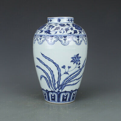 "10"" Chinese old Porcelain ceramics Ming xuande mark blue white flower plum vase"