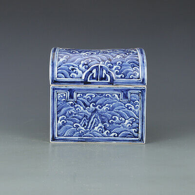 "7"" Chinese old Porcelain ceramics Ming xuande mark blue white seawater box"