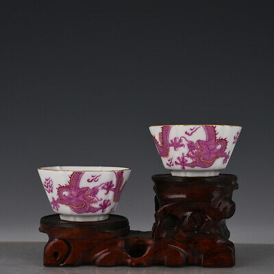 "3"" A pair Chinese old Porcelain Qing qianlong mark painting dragon six party cup"