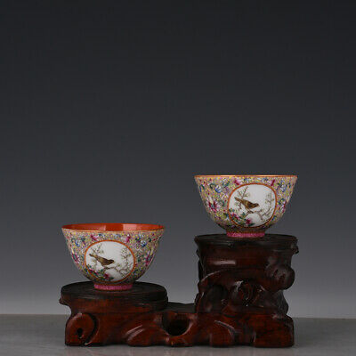 "3"" A pair Chinese old Porcelain Qing qianlong mark famille rose flower bird cup"
