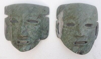 2 vintage green jade precolombian maya mask male & female