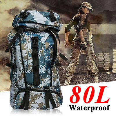 80L Extra Large Waterproof Hiking Camping Travel Luggage Backpack Rucksack Bag
